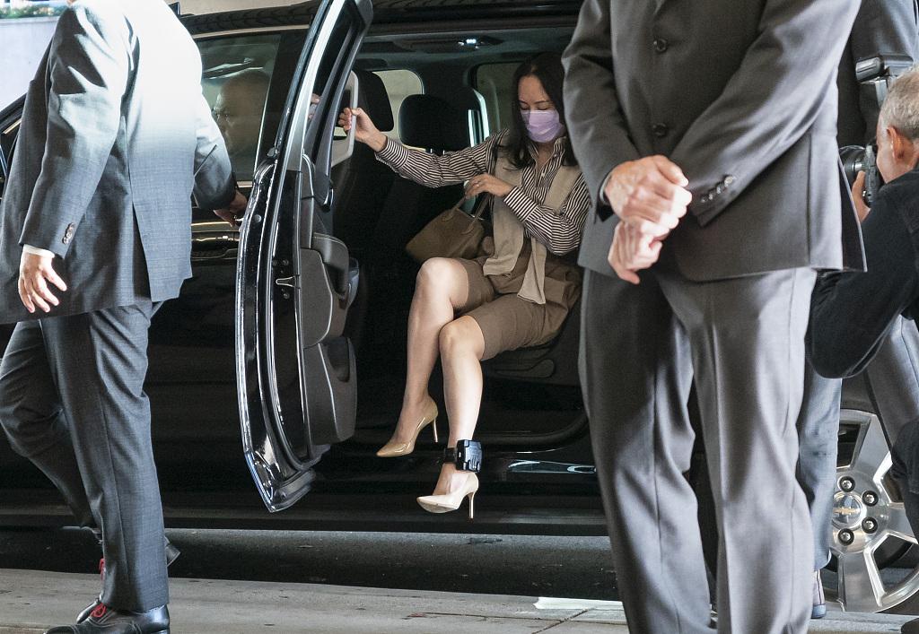 """当地时间2020年9月28日,加拿大温哥华,孟晚舟引渡案在加拿大不列颠哥伦比亚省高等法院再次开庭。此案的审理进入了第二阶段,也就是孟晚舟的律师以加美双方涉嫌""""程序滥用""""为申诉理由,要求法庭中止对孟晚舟的引渡程序。孟晚舟当天出庭。"""
