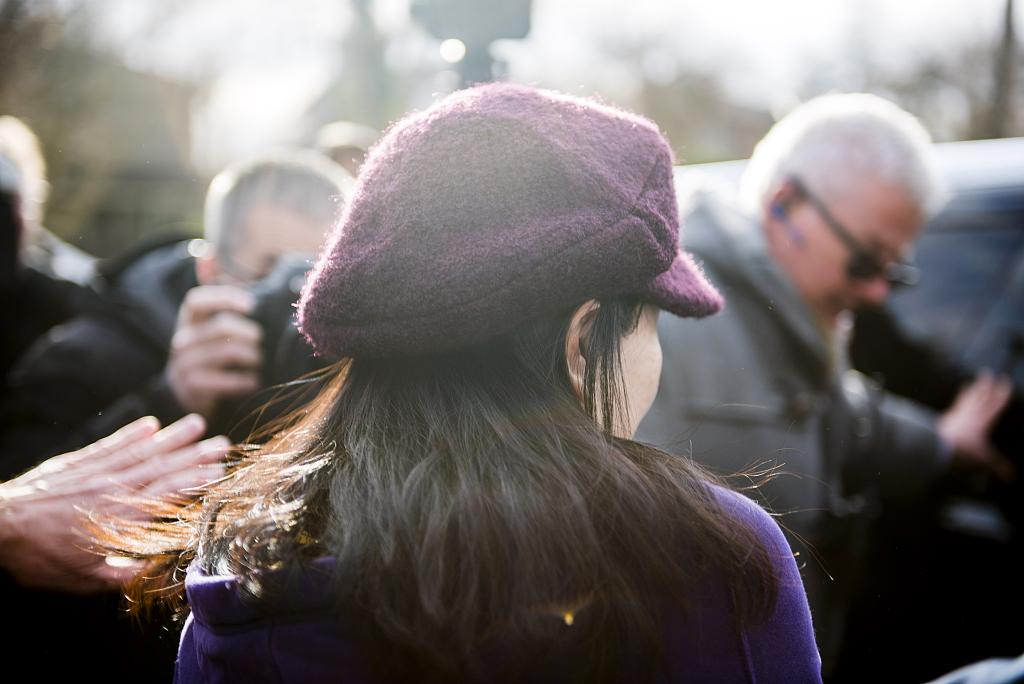 当地时间2019年3月6日上午,加拿大温哥华,孟晚舟离开家,将在温哥华的卑诗省最高法庭再次出庭。