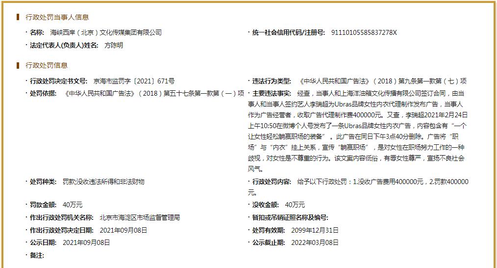李诞签约公司被罚40万 因内衣广告文案内容低俗