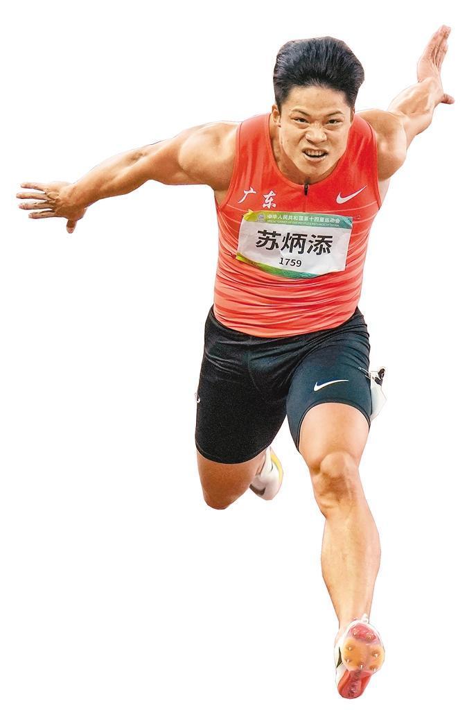 苏炳添在比赛中 首席记者王健 记者雷伟东 摄