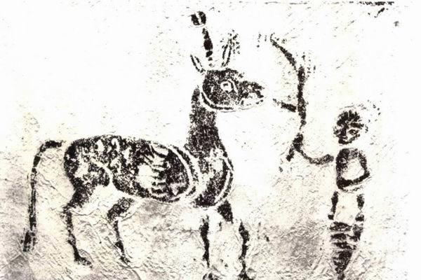 图一五 四川泸州七号石棺麒麟画像拓片