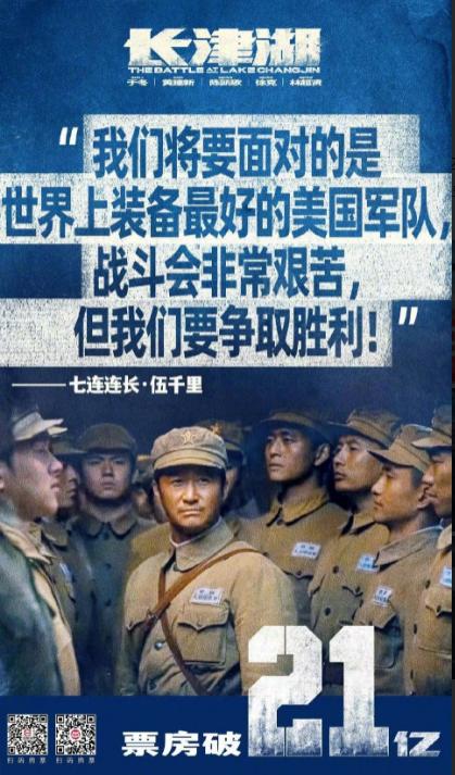 《长津湖》成影史国庆档票房冠军,现票房已突破21亿
