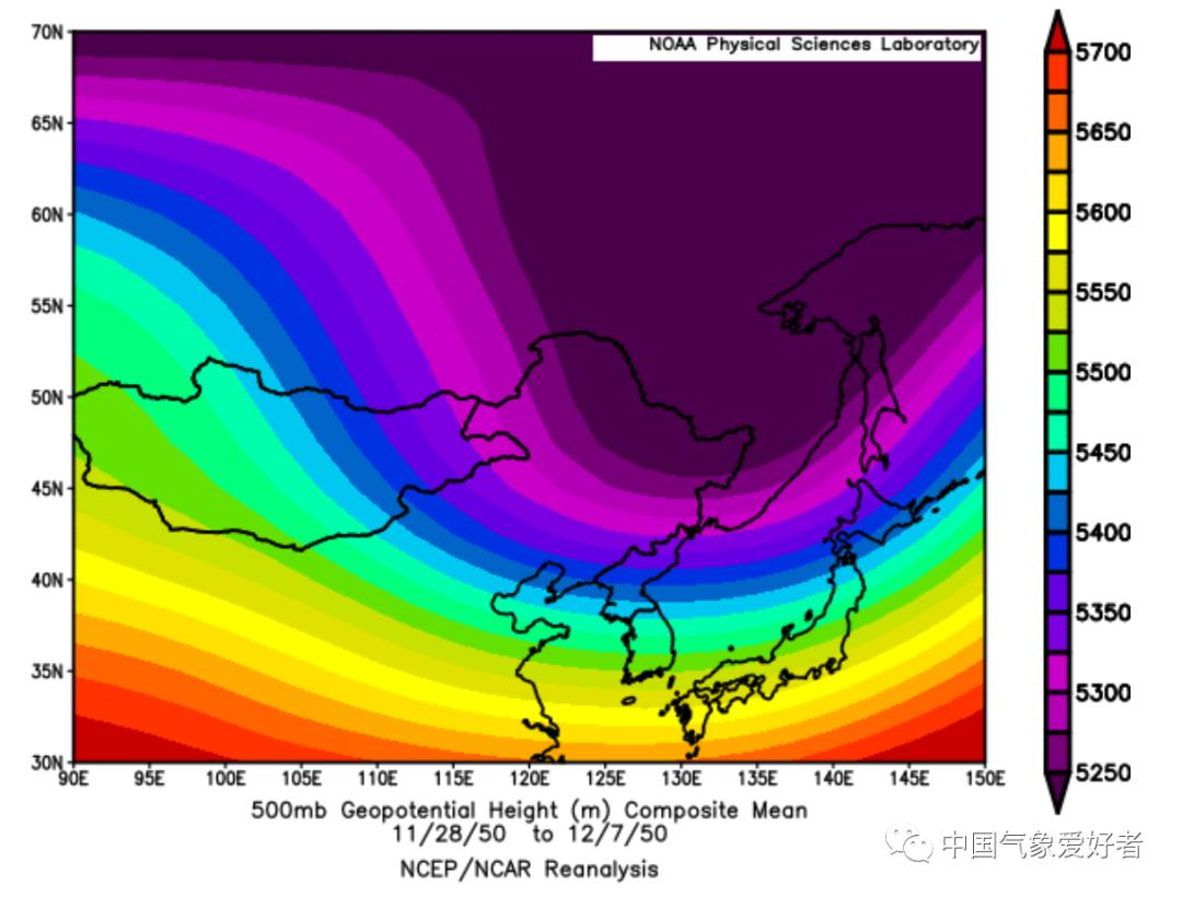 1950年11月28日-12月7日500百帕形势,中气爱根据NCEP数据制作