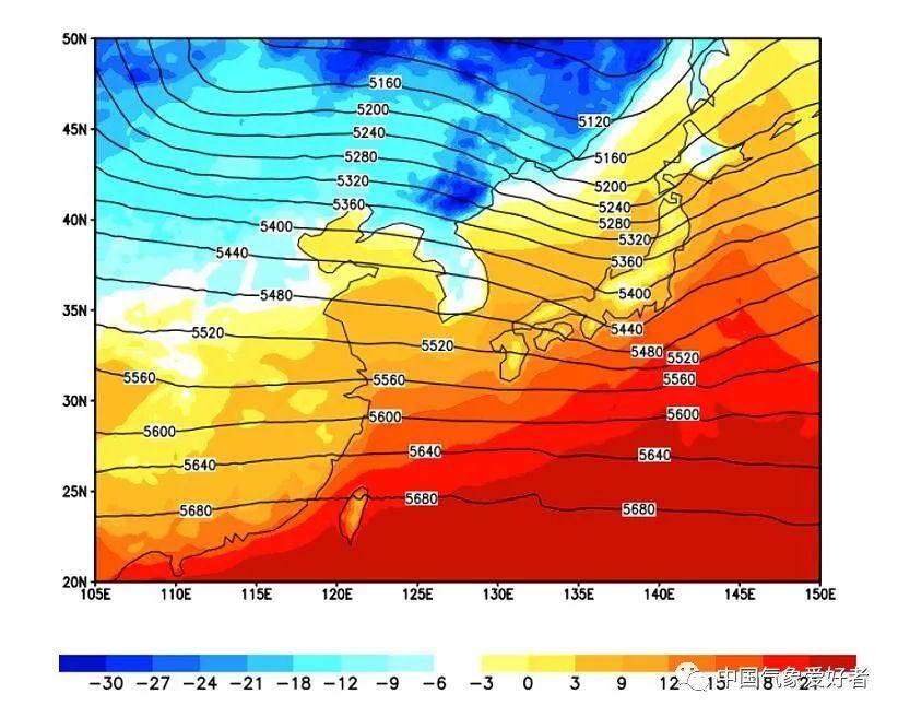 1950年11月27日朝鲜半岛及周边500百帕形势和2M气温,mikeliang根据ERA数据制作