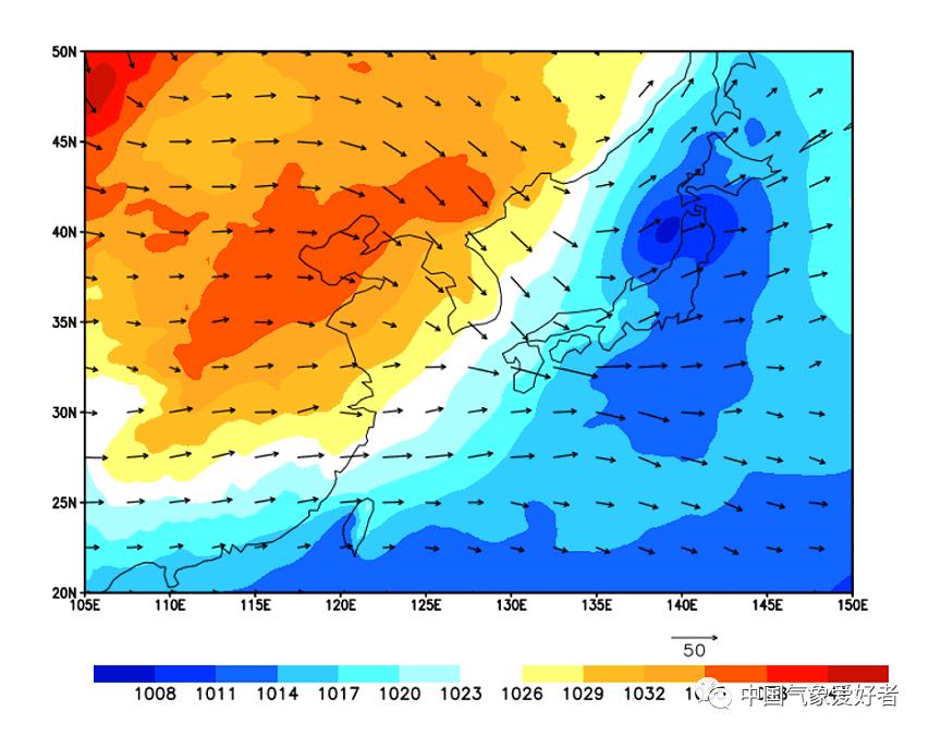 1950年11月27日朝鲜半岛及周边地面气压和850百帕风矢,mikeliang根据ERA数据制作