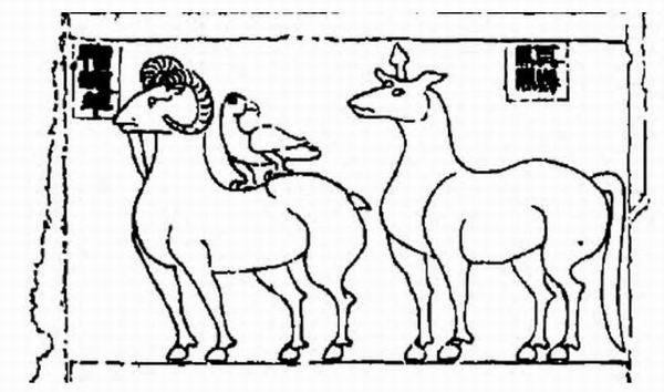 图八 邳州缪宇墓后室东壁南侧画像石局部线图