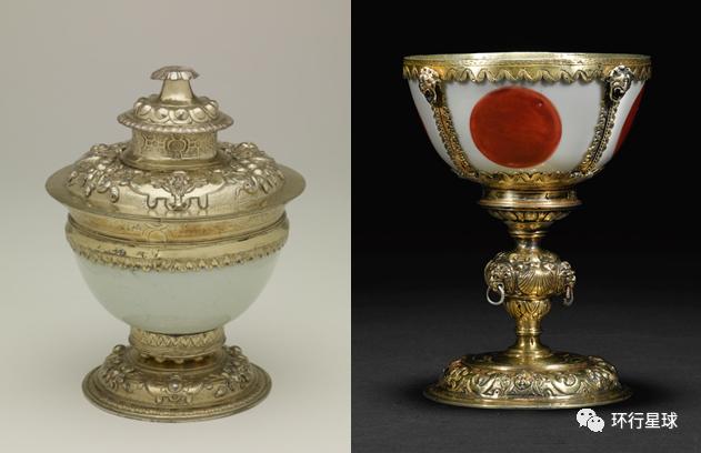 """左为""""莱纳德杯(Lennard Cup)"""",现存于大英博物馆;右为意大利收藏家私藏。两个瓷碗均产自明嘉靖年间(1522-1566),且均在16世纪被欧洲收藏人二次加工。因为中国瓷器的昂贵稀有和对中式审美的不熟悉,将瓷碗披金戴银视作奖杯或浅杯(tazza)在16-17世纪是常见操作。"""
