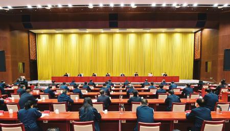 10月11日,省政法队伍教育整顿领导小组第九次会议暨全省第二批政法队伍教育整顿工作推进会现场。