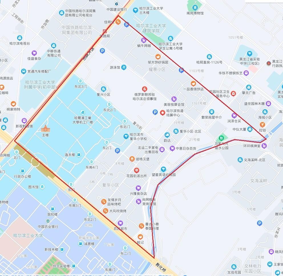 停水区域(图片由哈尔滨供水集团提供)