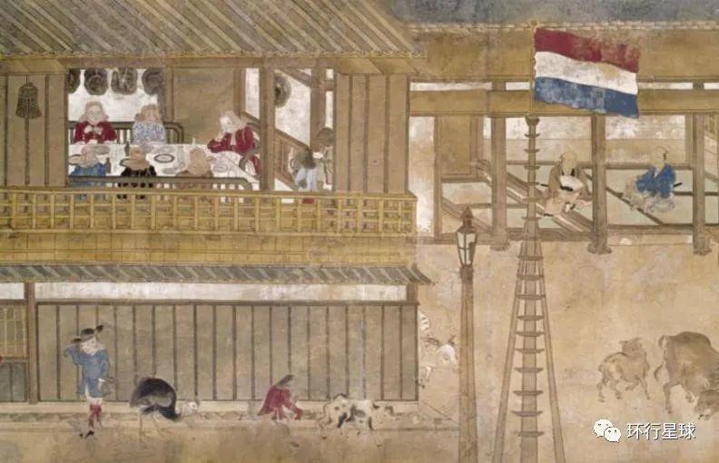 出岛商馆的荷兰人与荷兰国旗。 图:Granger Collection