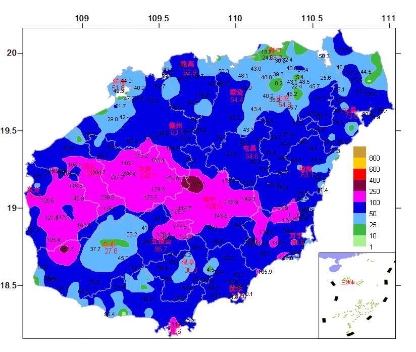 2021年10月12日20时~14日14时全岛雨量图(单位:毫米;图中红色数字为城区测站雨量,黑色数字为乡镇自动站雨量)