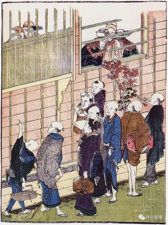 Katsushika Hokusai作品,窗内红发的是荷兰人,与窗外的日本人相互观望。 图:Wikimedia Commons