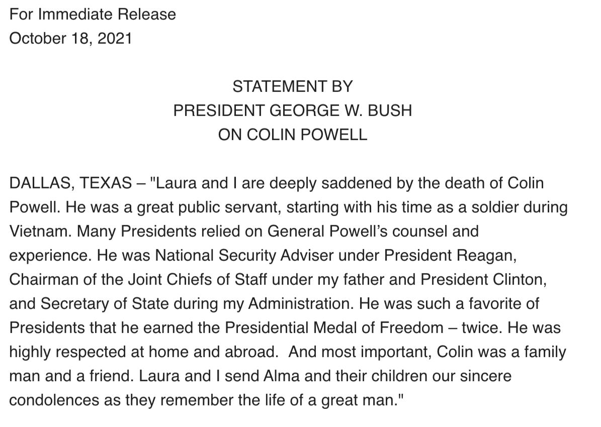 美前国务卿鲍威尔去世 小布什哀悼称其在国内外都备受尊敬