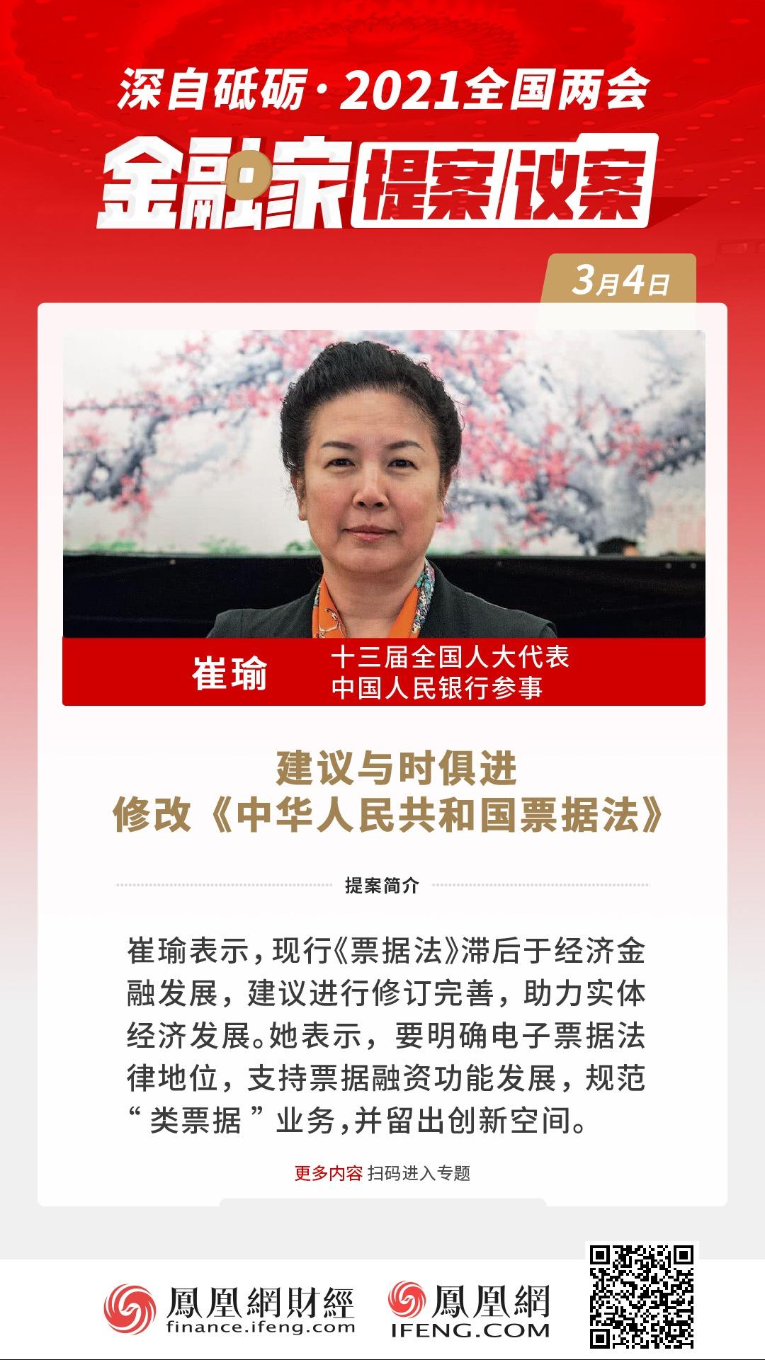 全國人大代表、中國人民銀行參事崔瑜:建議修訂完善《票據法》