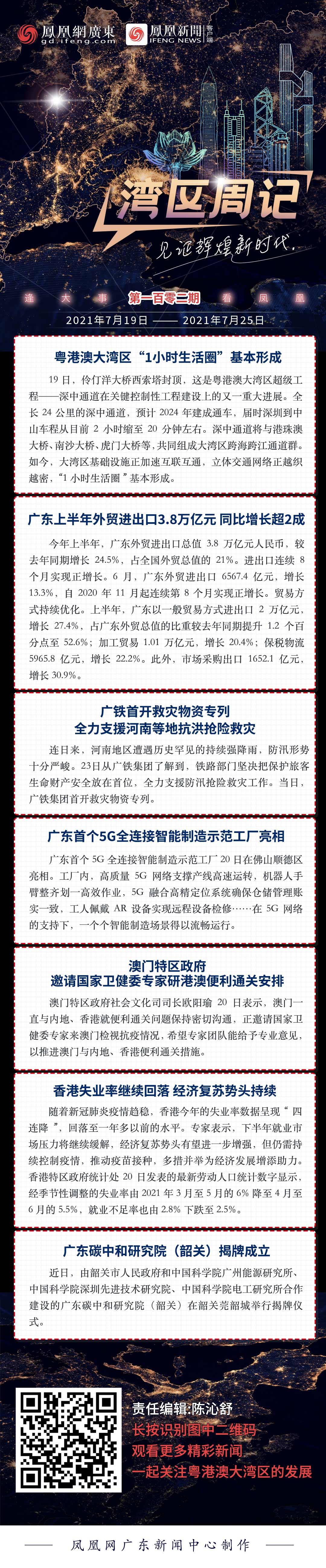 """湾区周记No.102丨粤港澳大湾区""""1小时生活圈""""基本形成"""